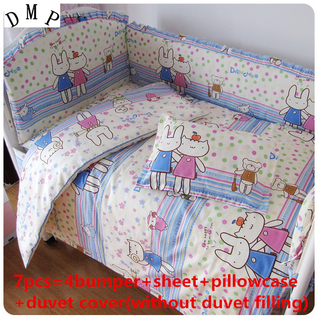 İndirim! 6/7 pcs bebek bedding set pamuk beşik bedding set toddler bedding set bebek seti, 120*60/120*70 cm