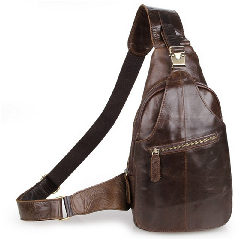 Baigio Men Chest Bags Brown Leather Brand Designer Wholesale Best Vintage Messenger Bags Crossbody Chest Packs